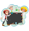 Three scientists by the board vector image vector image
