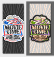 vertical banners for movie time vector image