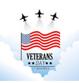 veterans day with flag and military airplane vector image vector image