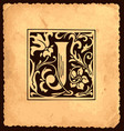 vintage initial letter j with baroque decorations vector image vector image