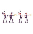 young police officers at attack and defence vector image vector image