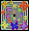 multicolored butterfly fly away into the distance vector image