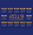 2019 calendar orange yellow on dark blue vector image vector image