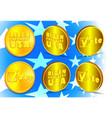 3d gold token in six projections biden vector image vector image