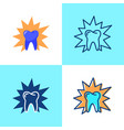 aching tooth icon set in flat and line style vector image vector image
