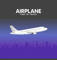 airplane in sky urban city silhouette vector image vector image