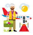airport landing on the flight flat style vector image vector image