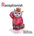 Alphabet professions Owl Letter R - Receptionist vector image