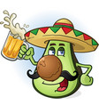 avocado mexican cartoon character drinking beer vector image vector image
