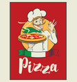 banner with inscription pizza and winking chef vector image vector image