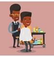 Barber making haircut to young man vector image vector image