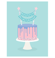 Birthday cake with frosting and decoration vector image vector image
