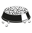 black and white full pet food bowl silhouette vector image vector image