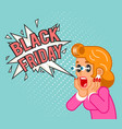 black friday sale surprised female customer girl vector image vector image