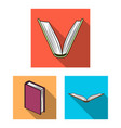 book bound flat icons in set collection for design vector image vector image