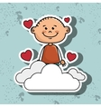 boy cloud heart love vector image