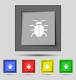 Bug Virus icon sign on original five colored vector image vector image