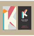 business card letter K vector image vector image
