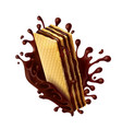 chocolate wafer with melted chocolate splash vector image vector image