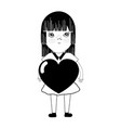 contour pretty girl with heart in the hand and vector image vector image