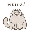 cute fat orange cat says hello vector image vector image