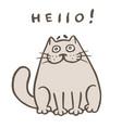 cute fat orange cat says hello vector image