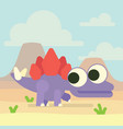 cute stegosaurus in valley of the volcanoes vector image