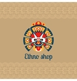 Ethno shop card with mask vector image vector image