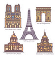 famous landmarks france french sightseeing set vector image vector image