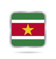 flag of suriname metallic gray square button vector image vector image