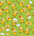 flat cute chick hatching seamless pattern vector image vector image