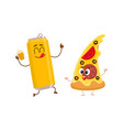 funny beer can and yummy pizza slice characters vector image vector image