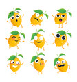 funny lemon - isolated cartoon emoticons vector image vector image