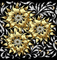 gold 3d flowers seamless pattern floral vector image