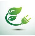 green eco power plug design with leave vector image vector image