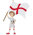 Happy soccer fan holds English flag vector image vector image