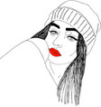 head of young woman with red lips one line design vector image vector image
