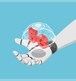 isometric ai robot hand holding virtual wolrd and vector image vector image