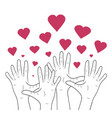linear human hands with hearts vector image vector image