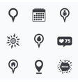 Map pointer icons Home food and user location vector image vector image