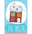 Merry Christmas post card with toy house vector image