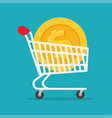 metal supermarket cart with big coin with dollar vector image vector image