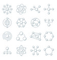 molecule model line set structure vector image