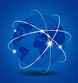 Network Global over blue background vector image vector image