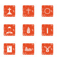 obsequies icons set grunge style vector image