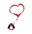 Penguin on love vector image vector image