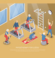 physiotherapy for elderly isometric vector image vector image