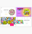 pop art colorful websites set vector image vector image