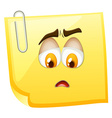 Sad face on yellow paper vector image vector image