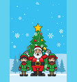 santa claus and elf cheering for christmas vector image vector image